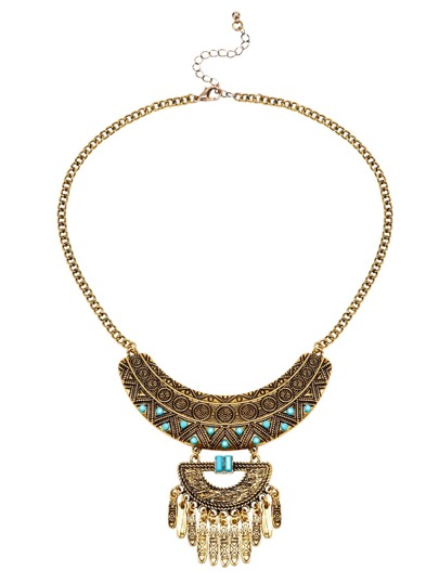 Antique Geometric Shaped Fringe Pendant Necklace