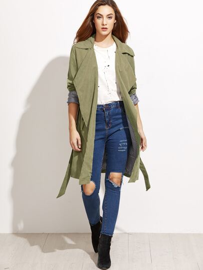 Army Green Self Tie Layered Wrap Coat