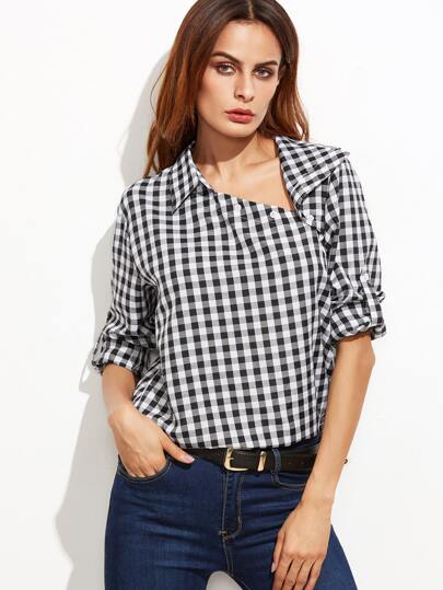 Black Gingham Asymmetric Buttoned Collar Blouse