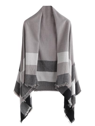 Echarpe châle en écossais - gris
