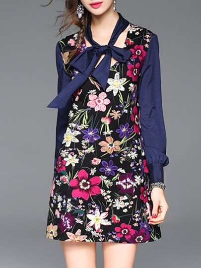 Vestido recto con estampado floral y lazo en cuello - azul