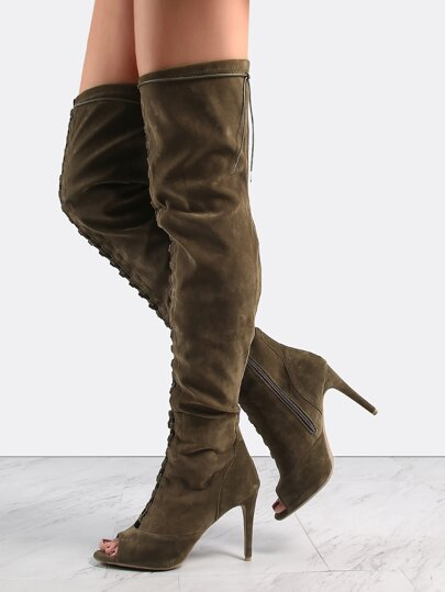 Lace Up Suede Stiletto Heel Boots OLIVE