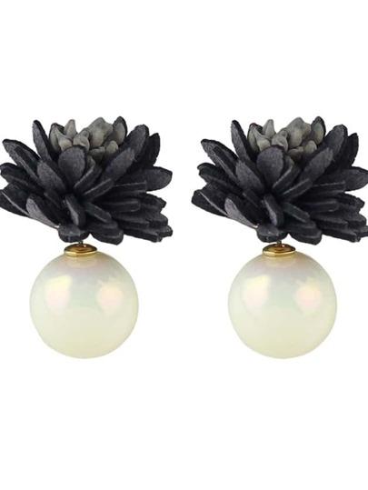 Black New Imitation Pearl Flower Stud Earrings
