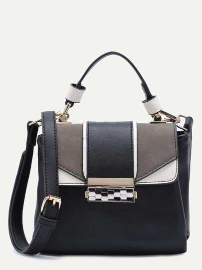 Black Faux Leather Flap Handbag With Strap