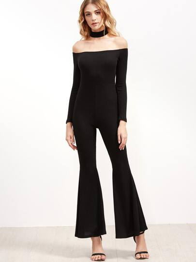Black Off The Shoulder Flared Jumpsuit
