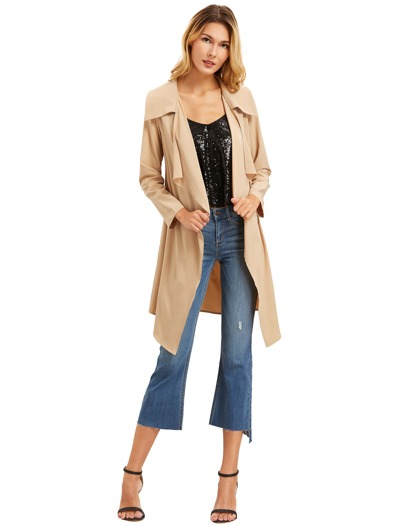 Apricot Draped Neck Long Sleeve Coat