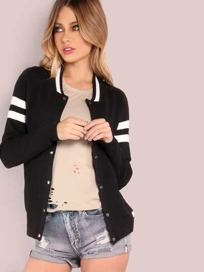 Varsity Knit Jacket BLACK
