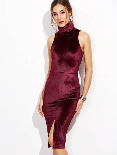 Burgundy Turtleneck Slit Front Cord Pencil Dress