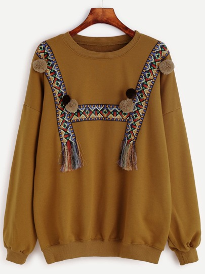 Brown Woven Tape And Pom Pom Detail Sweatshirt