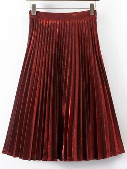 Burgundy Pleated A Line Midi Skirt