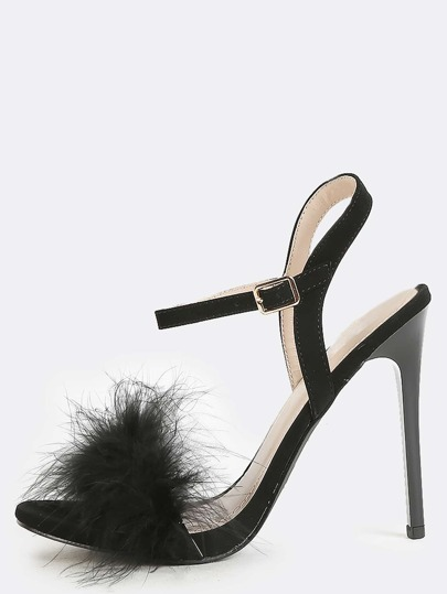 Feather Stiletto Single Sole Heels BLACK