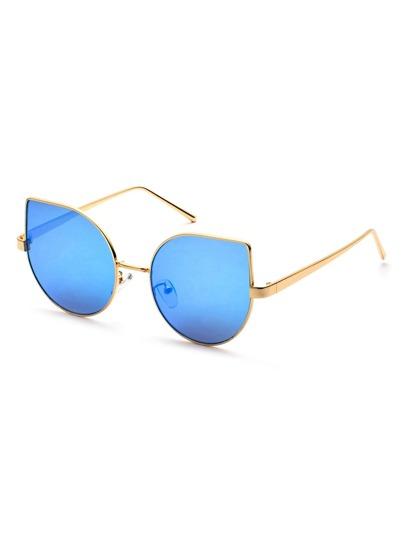 Metal Frame Blue Cat Eye Sunglasses