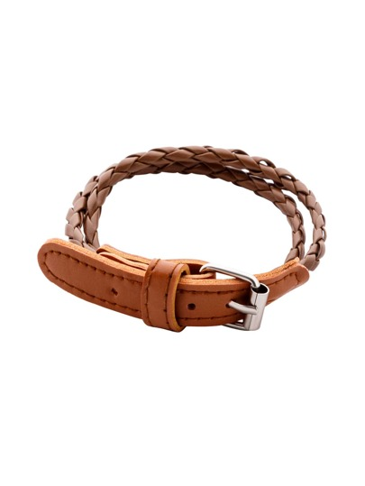 Camel Double Layer Braided Bracelet With Buckle Closure
