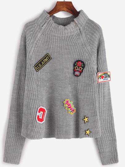 Pull en patch avec zip - gris