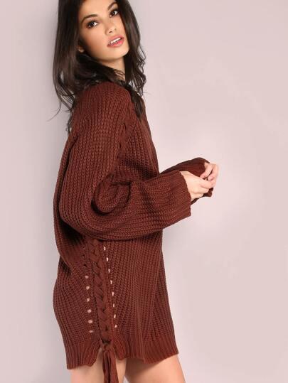 Oversized Waffle Knit Lace Up Sweater RUST