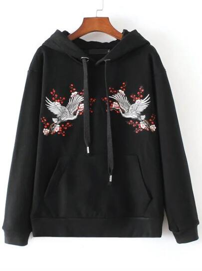 Black Crane Embroidery Hooded Loose Sweatshirt