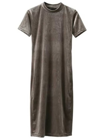 Grey Mock Neck Velvet Dress