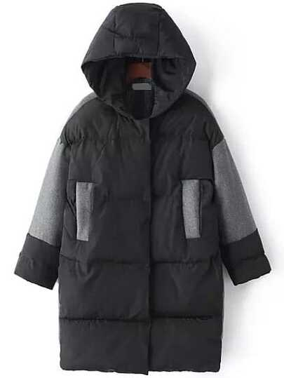 Color Block Hooded Padded Coat With Pockets