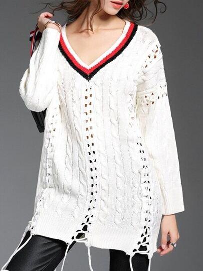 White V Neck Lace Up Sweater