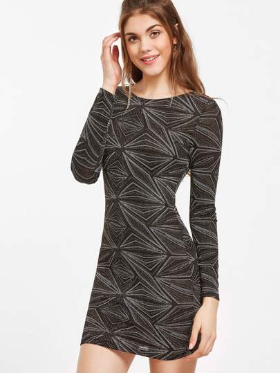 Black Geo Pattern Sparkle Bodycon Dress