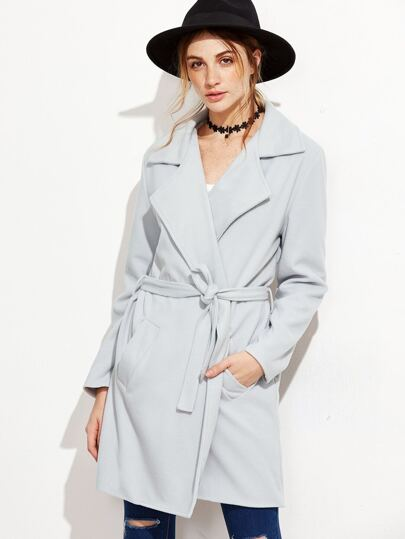Pale Grey Self Tie Wrap Coat
