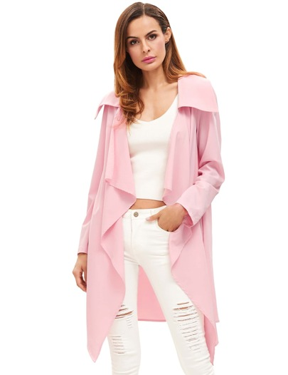 Pink Draped Neck Long Sleeve Coat