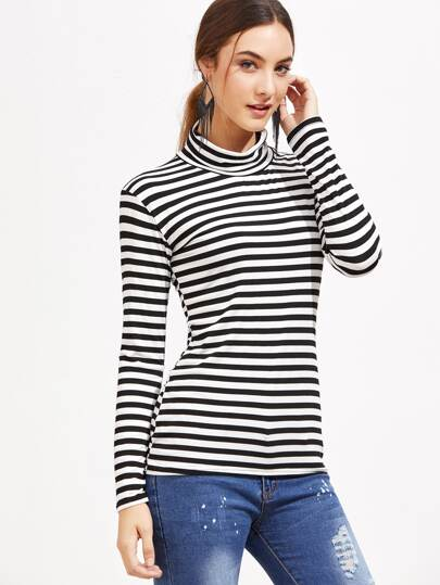 Black And White Striped High Neck T-Shirt