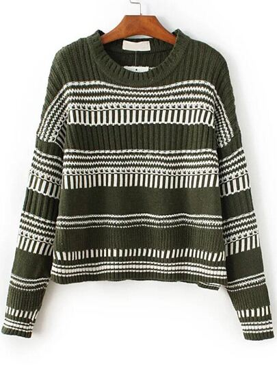 Army Green Striped Drop Shoulder Dip Hem Sweater