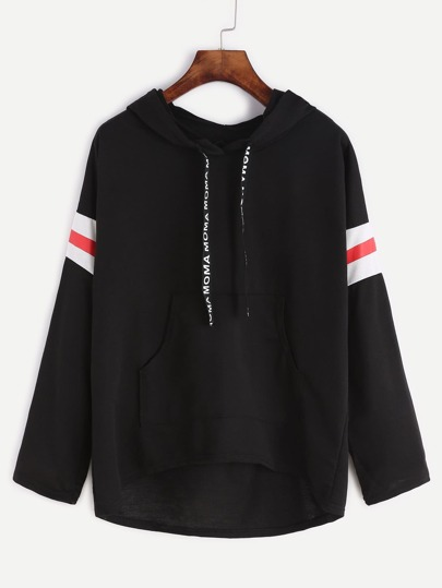 Black Varsity Print Drawstring Hooded Sweatshirt