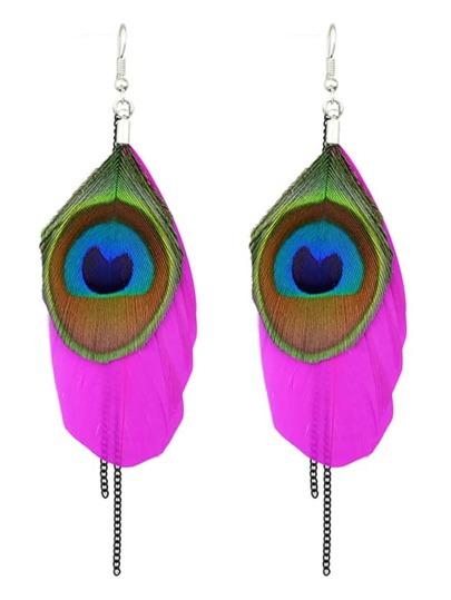 Boucles d'oreille ethnique forme de plume de paon - rose