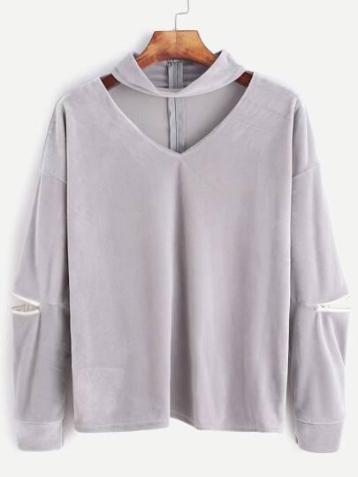 Grey Cutout Zipper Detail Velvet Sweatshirt