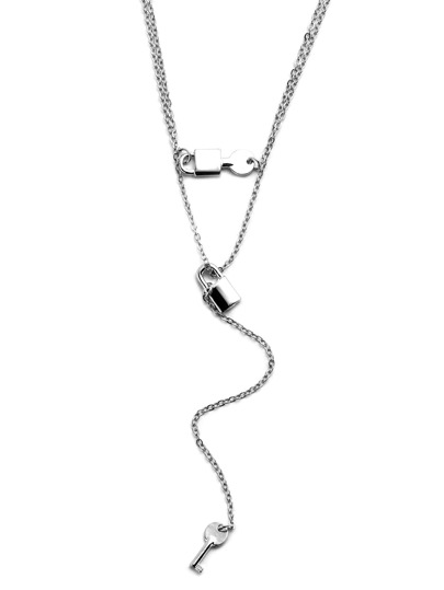Silver Plated Layered Lock Key Y Necklace