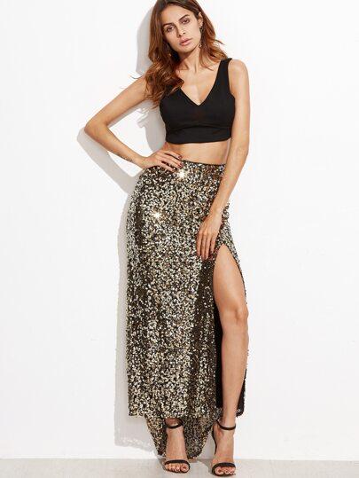 Golden Sequins Embedded Split Asymmetrical Skirt