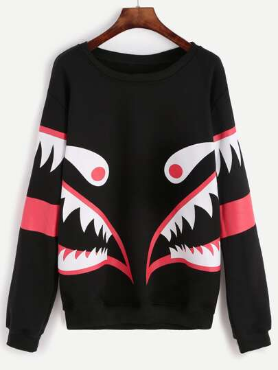 Black Monster Print Round Neck Sweatshirt