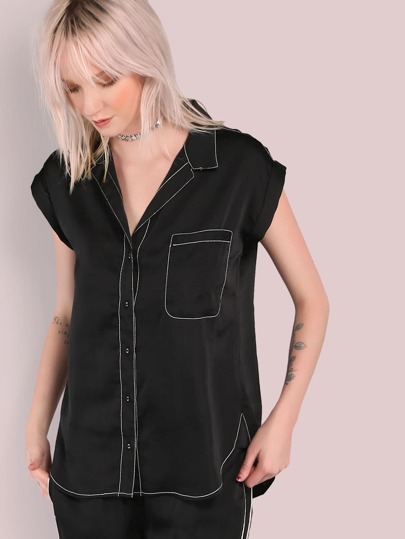Contrast Trim Button Up Top BLACK