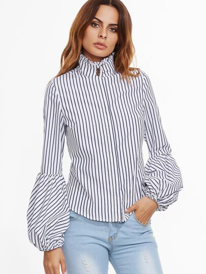 White Vertical Striped Ruffle Collar Lantern Sleeve Blouse