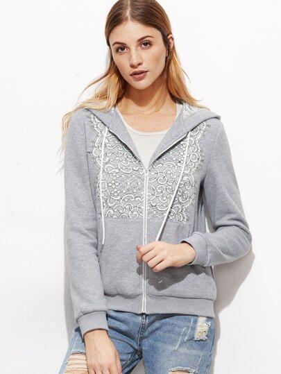 Heather Grey Lace Applique Zip Up Sweatshirt