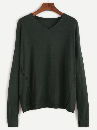 Dark Green V Neck High Low Knit T-shirt