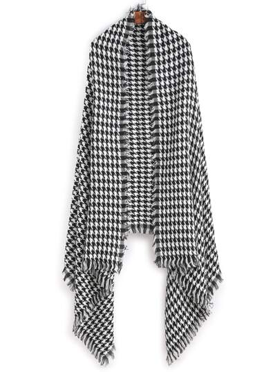 Black And White Houndstooth Long Scarf