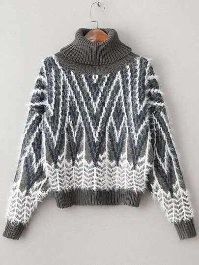 Grey Graphic Pattern Turtleneck Mohair Sweater