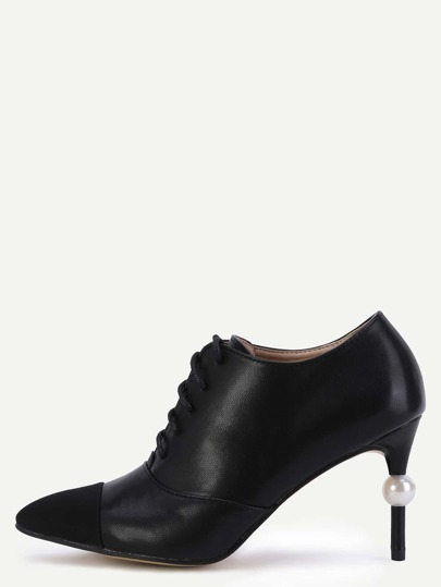 Black Cap Toe Faux Pearl Lace Up Pumps