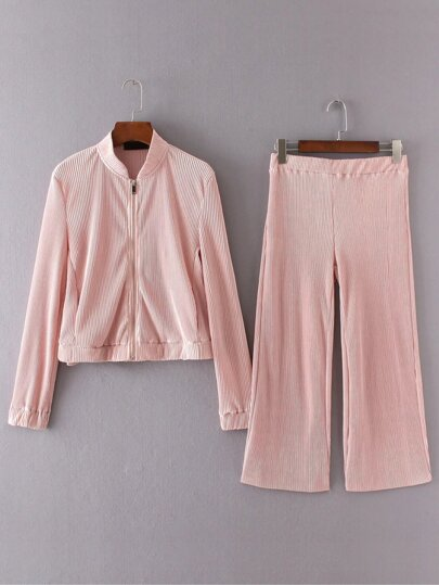 Pink Pleated Zipper Jacket With Wide Leg Pants