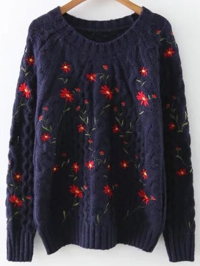 Navy Floral Embroidery Raglan Sleeve Sweater