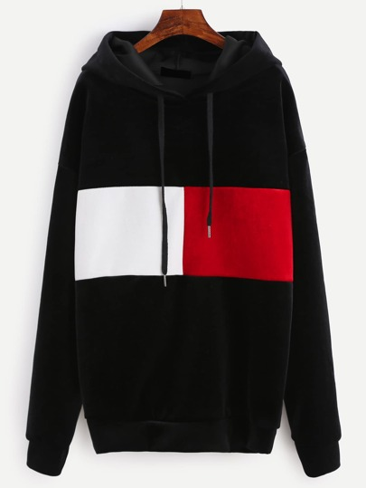 Black Color Block Drawstring Hooded Velvet Sweatshirt