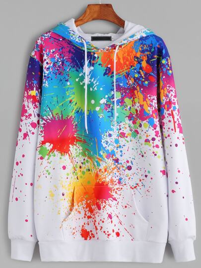 Paint Splatter Print Drawstring Hooded Sweatshirt