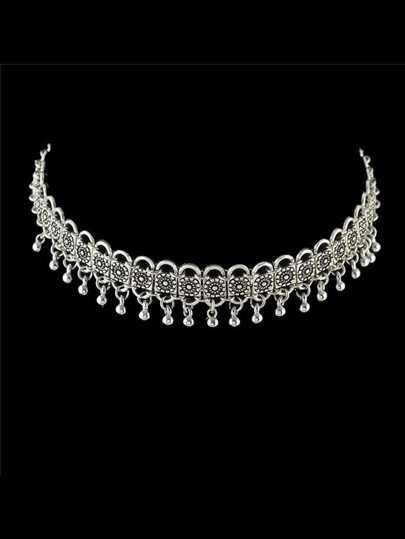 Indian Design Metal Beads Choker Collar Necklace