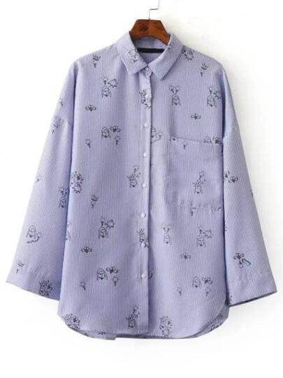 Blue Vertical Striped Drawing Print Curved Hem Shirt