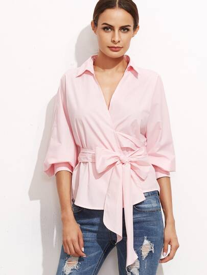 Pink Surplice Wrap Blouse