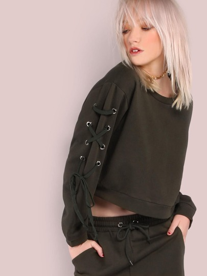 Lace Up Shoulder Sweatshirt OLIVE