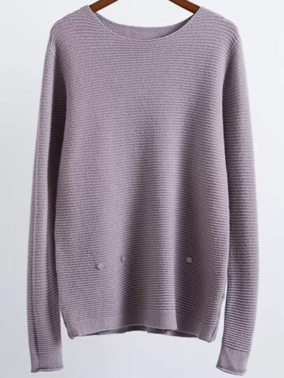 Purple Ribbed Button Detail Sweater